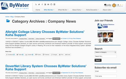 Screenshot of Press Page bywatersolutions.com - ByWater Solutions Company News - captured Oct. 27, 2014