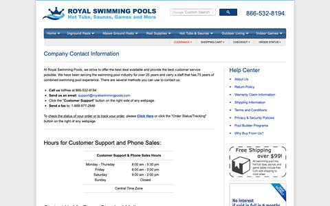 Screenshot of Contact Page Hours Page royalswimmingpools.com - Company Contact Information - captured Nov. 7, 2018
