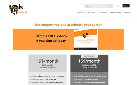 Screenshot of Signup Page tools4management.com - Signup and pricing - Tools4Management - captured Dec. 2, 2016