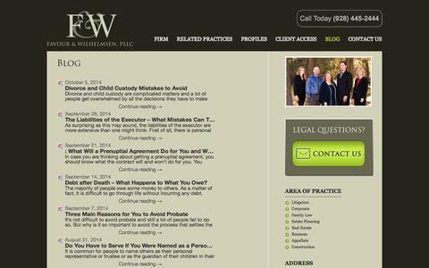Screenshot of Blog fmwlaw.net - Blog | Prescott Attorneys Favour Wilhelmsen PLLC - captured Oct. 5, 2014