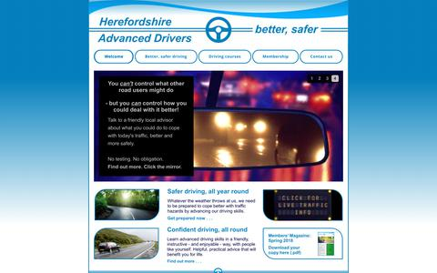 Screenshot of Home Page advanced-drivers.org.uk - Herefordshire Advanced Drivers for better, safer driving - captured July 7, 2018