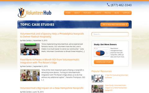 Screenshot of Case Studies Page volunteerhub.com - Case Studies Archives - VolunteerHub - captured June 14, 2017