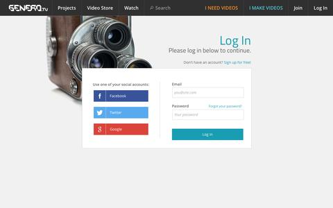 Screenshot of Login Page genero.tv - My Genero - captured Sept. 25, 2014