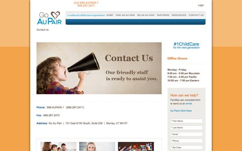 Screenshot of Contact Page goaupair.com - Contact Us | Go Au Pair - captured Oct. 19, 2016