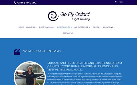 Screenshot of Testimonials Page goflyoxford.co.uk - Testimonials - Learn to fly with our flying lessons & pilot licence training - captured July 20, 2018