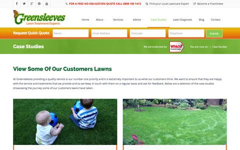 Screenshot of Case Studies Page Testimonials Page greensleeves-uk.com - Lawn Treatment Experts | Greensleeves Lawncare | Testimonials - captured Feb. 2, 2016