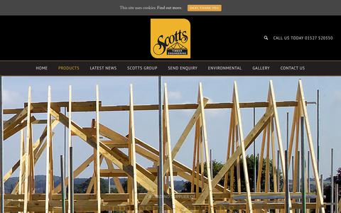 Screenshot of Products Page scottste.co.uk - Scotts Timber Engineering | Trussed Rafters | Metal Web Joists - captured Dec. 20, 2018