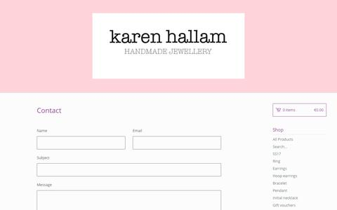 Screenshot of Contact Page bigcartel.com - Karen Hallam — Contact - captured Oct. 16, 2017