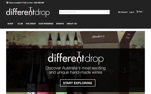 Screenshot of Home Page differentdrop.com - Different Drop - Explore Wine - captured Oct. 1, 2015