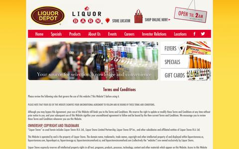 Screenshot of Terms Page liquorstoresgp.ca - Terms & Conditions - captured Oct. 2, 2014