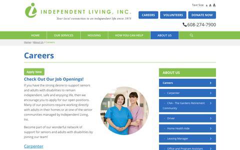 Screenshot of Jobs Page independentlivinginc.org - Career Opportunities | Independent Living, Inc. - captured Nov. 6, 2018