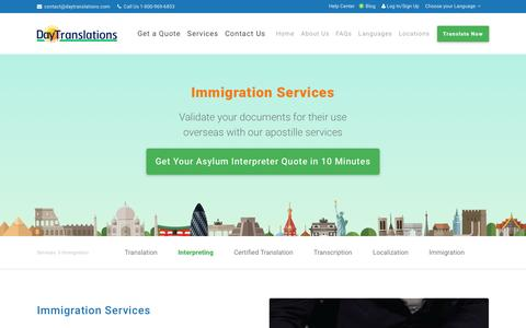 Screenshot of daytranslations.com - Immigration Services Assistance With Guaranteed USCIS Acceptance - captured March 26, 2017
