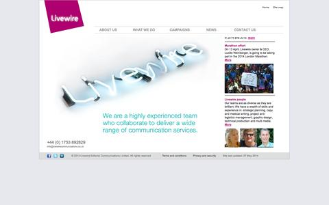 Screenshot of Home Page livewirecommunications.co.uk - Livewire Editorial Communications - Marketing communications and copywriting agency primarily for the pharmaceutical Industry - captured Oct. 3, 2014