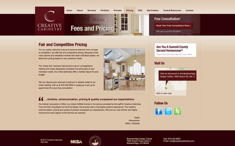 Screenshot of Pricing Page creativecabinetry.com - Fair and Competitive Pricing for Quality, Custom Cabinetry - captured Sept. 8, 2017
