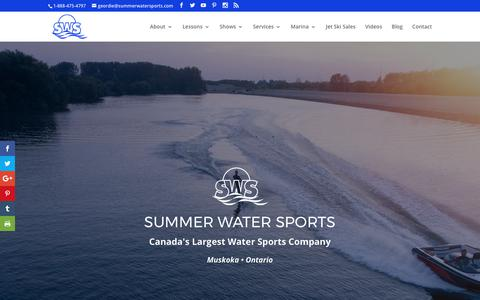 Screenshot of Home Page summerwatersports.com captured June 17, 2017