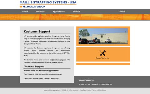 Screenshot of Support Page maillisstrapping.com - Customer Service - captured Oct. 23, 2018