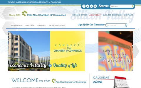 Screenshot of Home Page Menu Page paloaltochamber.com - PaloAlto - captured Oct. 1, 2014