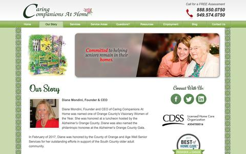 Screenshot of About Page caringcompanionsathome.com - About Our In-Home Caregiving Agency | Caring Companions At Home - captured Dec. 14, 2018