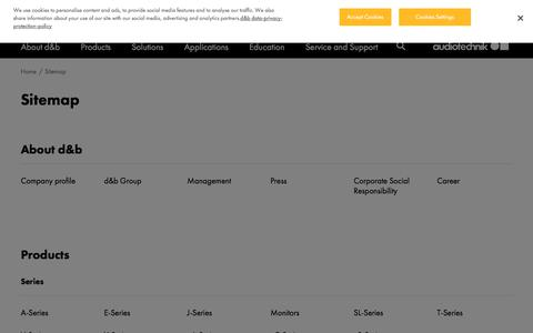 Screenshot of Site Map Page dbaudio.com - Sitemap | d&b audiotechnik - captured Nov. 1, 2019