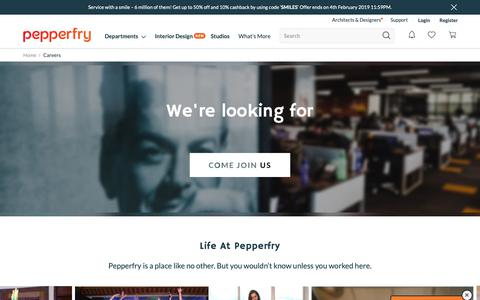 Screenshot of Jobs Page pepperfry.com - Careers - captured Jan. 31, 2019
