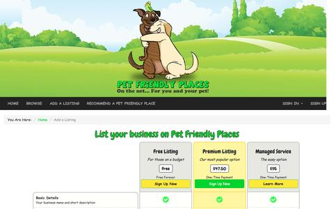 Screenshot of Signup Page pet-friendly-places.com - List your business on Pet Friendly Places - captured July 12, 2016