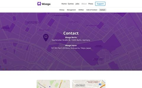 Screenshot of Contact Page wooga.com - Contact - captured Nov. 20, 2015