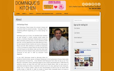 Screenshot of About Page dominiqueskitchen.com - About | Dominique's Kitchen - captured Oct. 5, 2014