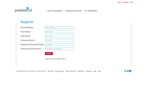 Screenshot of Signup Page prestobox.com - PrestoBox   Automated Branding Agency for Small Businesses - captured Sept. 17, 2014