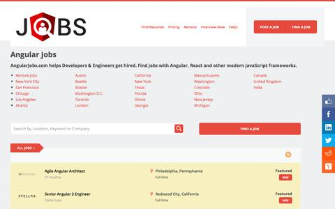Screenshot of Home Page angularjobs.com - Find Angular Jobs, Developers & Top Employers - AngularJobs.com - captured July 7, 2017