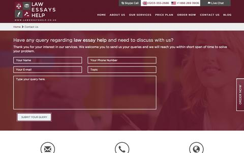 Screenshot of Contact Page lawessayshelp.co.uk - Contact Law Essay Help - captured July 19, 2015