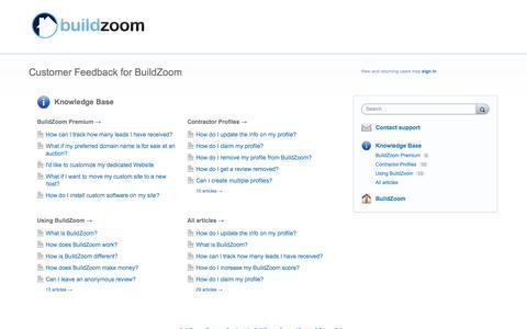 Screenshot of Support Page buildzoom.com - Customer Feedback for BuildZoom - captured Dec. 16, 2014