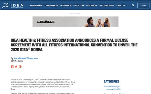 Screenshot of Press Page ideafit.com - IDEA Health & Fitness Association Announces a Formal License Agreement with All Fitness International Convention to Unveil the 2020 IDEA® Korea - IdeaFit - captured Jan. 11, 2020