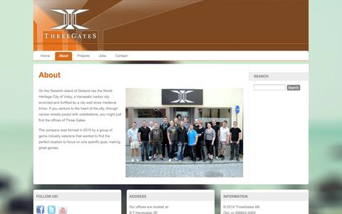 Screenshot of About Page threegates.se - ThreeGates.se - About - captured Sept. 30, 2014
