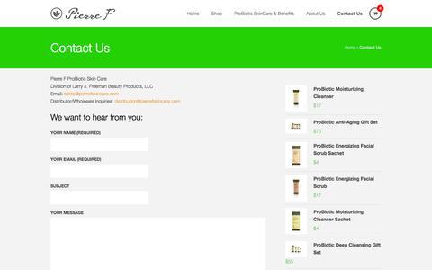 Screenshot of Contact Page pierrefskincare.com - Contact Us - PierreF Skin Care | PierreF Skin Care - captured Sept. 29, 2014