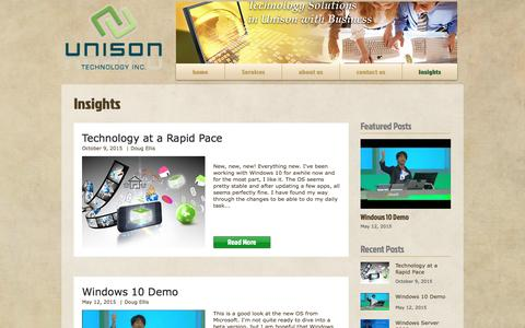 Screenshot of Blog unisontech.biz - Unison Insights - captured Dec. 18, 2016