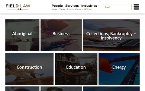 Screenshot of Services Page fieldlaw.com - Services - Field Law - captured Aug. 13, 2018
