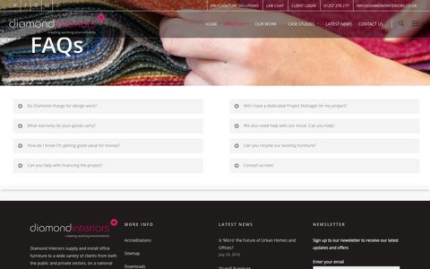 Screenshot of FAQ Page diamondinteriors.co.uk - FAQ - Diamond Interiors - captured Aug. 1, 2016