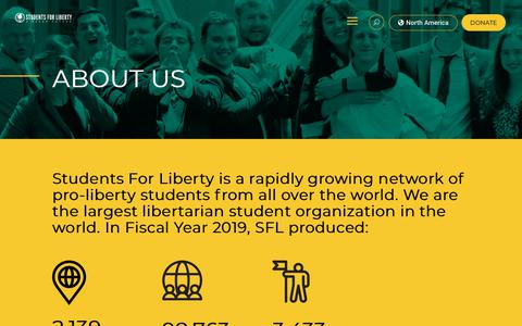 Screenshot of About Page studentsforliberty.org - About Us | Students For Liberty - captured Dec. 4, 2019
