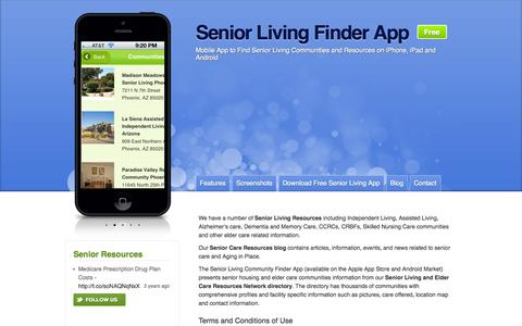 Screenshot of Home Page senior-living-finder.com - Senior Living Resources : Senior Living Finder App - captured Jan. 26, 2015