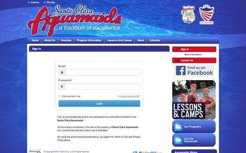 Screenshot of Login Page teamunify.com - Santa Clara Aquamaids : Sign In - captured May 20, 2016