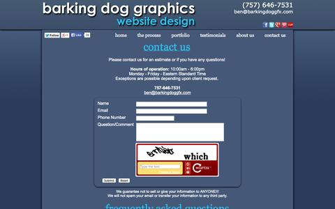 Screenshot of Contact Page FAQ Page barkingdoggfx.com - Contact Us Today For All Of Your Website, Search Engine Optimization, and Business Marketing Needs - captured Nov. 3, 2014