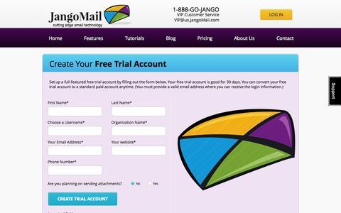 Screenshot of Trial Page jangomail.com - JangoMail Free Trial Signup - captured Oct. 10, 2014