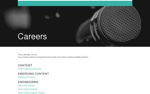Screenshot of Jobs Page tunein.com - TuneIn Radio - captured July 20, 2014
