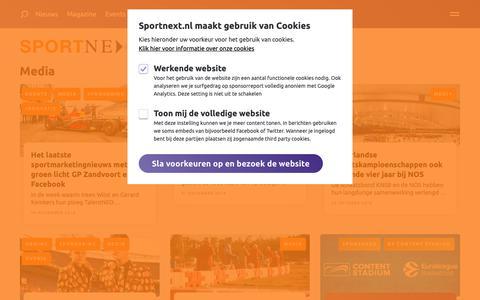 Screenshot of Press Page sportnext.nl - Media | SPORTNEXT - De sportmarketing community - captured Nov. 5, 2018