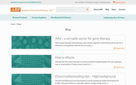 Screenshot of Blog arp1.com - Blog | American Research Products, Inc - captured Oct. 2, 2018