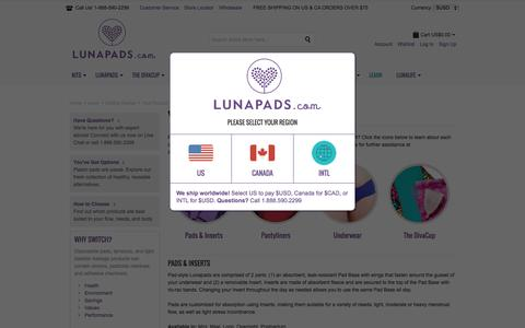 Screenshot of Products Page lunapads.com - Your Product Choices | Lunapads.com - captured Dec. 9, 2015