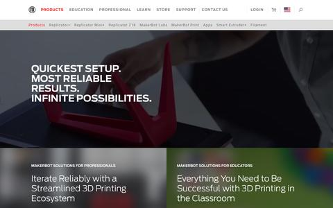 Screenshot of Products Page makerbot.com - Desktop 3D Printers - Compare Desktop 3D Printers - 3D Printing - captured June 12, 2018