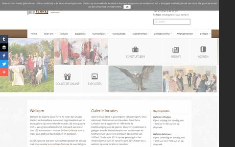 Screenshot of Home Page sous-terre.nl - Galerie Sous-Terre - Lithoijen - Aalsmeer - Ootmarsum | KunstGalerie Sous-Terre | Kunstbeleving in de polder - captured May 28, 2016