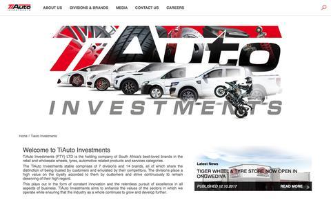 Screenshot of Home Page tiauto.co.za - Tiauto Investments - captured Oct. 24, 2017