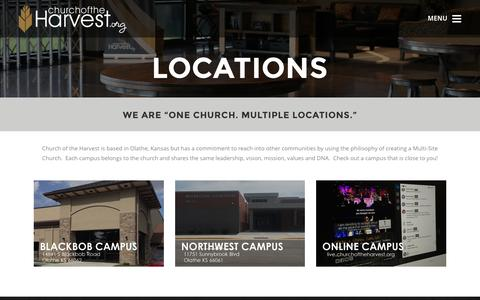 Screenshot of Locations Page churchoftheharvest.org - Locations - Church of the Harvest - captured Jan. 28, 2016